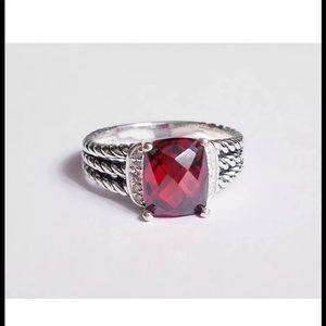 David Yurman 10x8mm Garnet Diamond Ring Sz 6.5